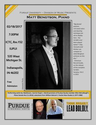 Guest Artist Matt Bengtson, Piano/IUPUI Music and ...