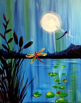"Canvas Painting Party ""Dragonflies in the Night"""