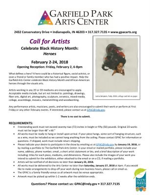 Call For Artists: Celebrate Black History Month: Heroes