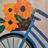 "Canvas Painting Party ""Bike Flower Basket"""