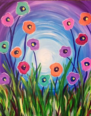 """Treats & Canvas Painting Party """"Dancing Poppie..."""