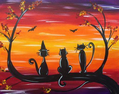 """Canvas Painting Party """"Halloween Kitties"""""""