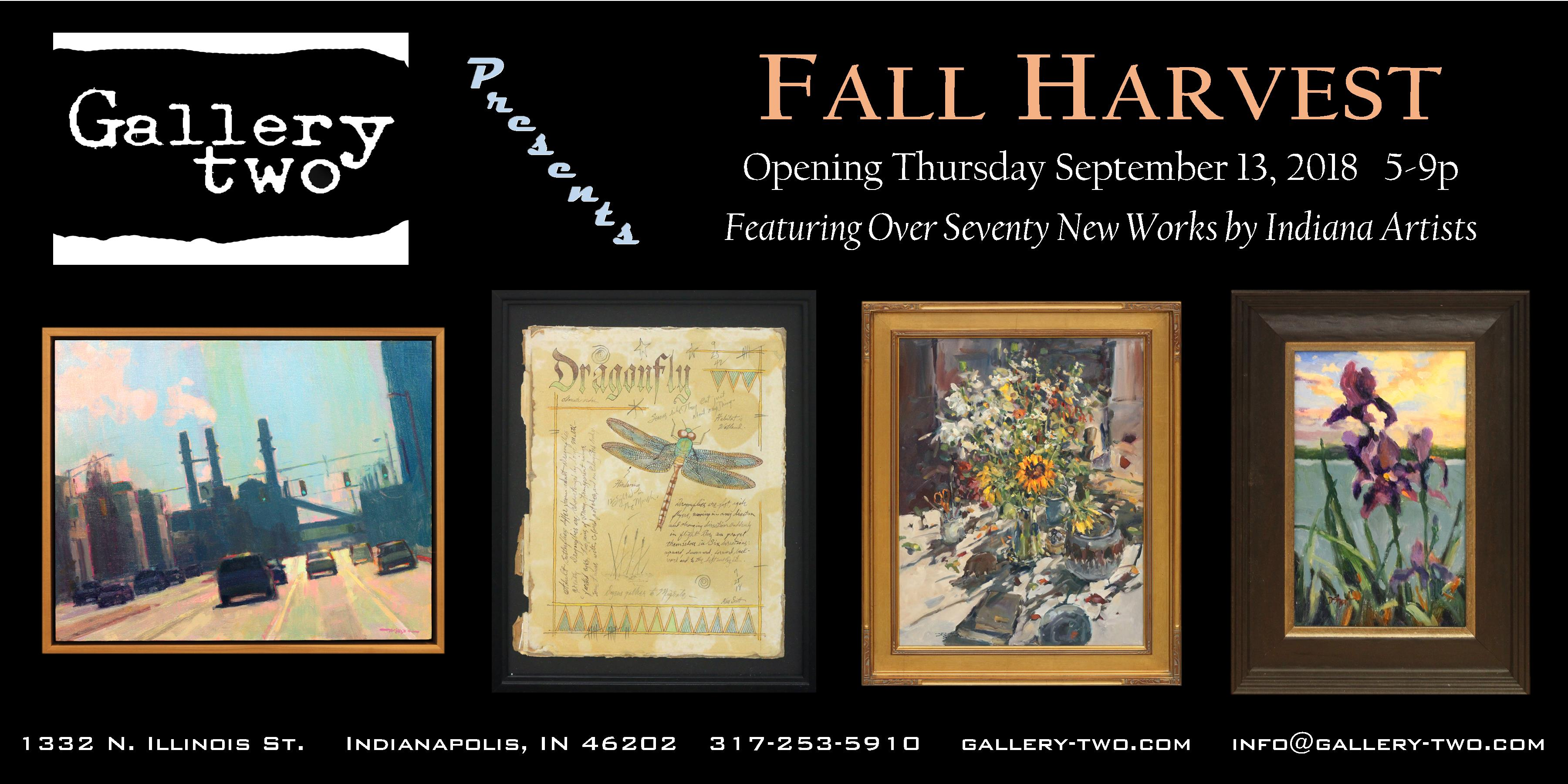 fall harvest opening reception at gallery two featuring 70 recent works by indiana artists