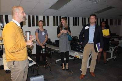 Arts Education School Tours participants visit the keyboard classroom at Edison School for the Arts on September 14, 2016
