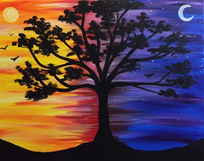 "Canvas Painting Party ""Sun and Moon Shade"""