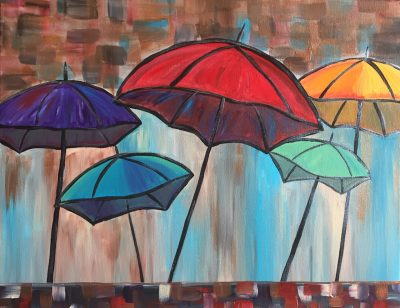 "Canvas Painting Party ""Abstract Umbrellas"""