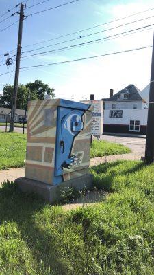 Blue Face Traffic Signal Box