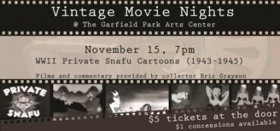 November Vintage Movie Night presents: WWII Private Snafu Cartoons