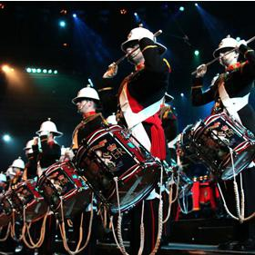 The Band of the Royal Marines with the PIPS,Drums,& Highland Dancers of the Scots Guards